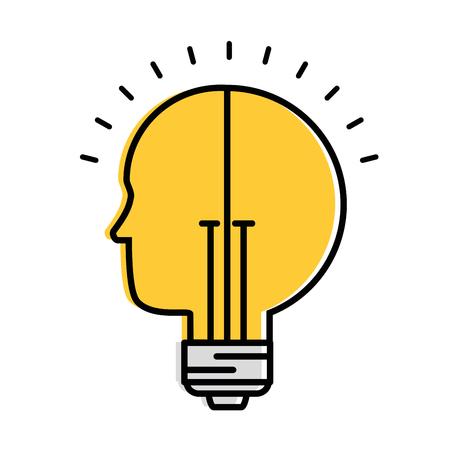 Bulb light idea with profile vector illustration design Vectores