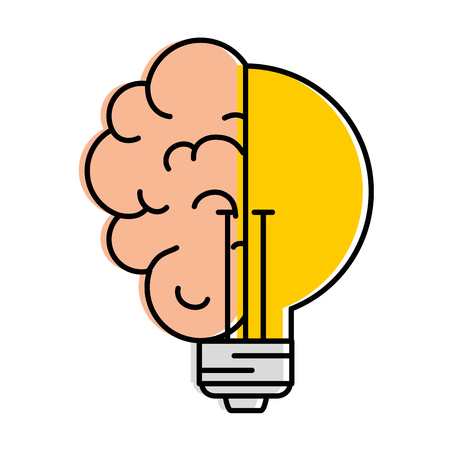 Bulb light idea with brain vector illustration design