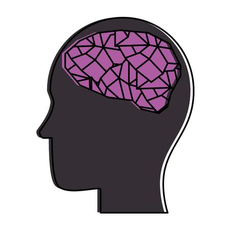 profile with brain human organ icon vector illustration design Stock Vector - 98761590