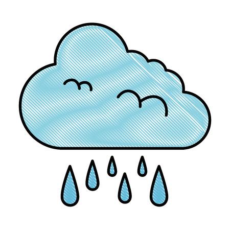climate cloud with rain drops vector illustration design
