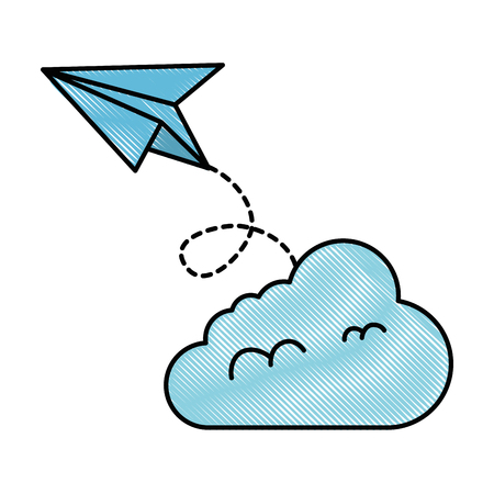 Paper airplane flying with cloud vector illustration design. Foto de archivo - 98772375