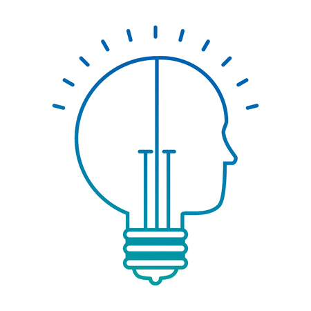 bulb light idea with profile vector illustration design Ilustração