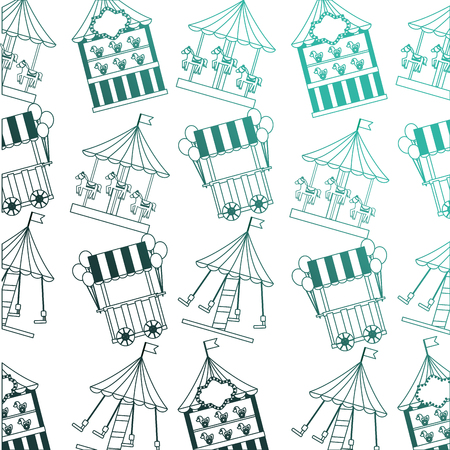 carousel carnival with kiosks pattern background vector illustration design