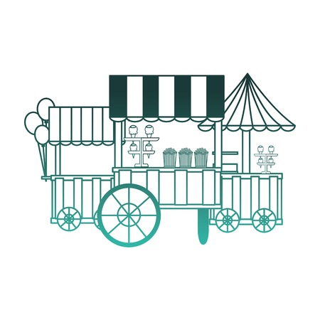 Circus kiosk shops set vector illustration design.