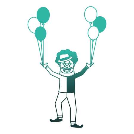 circus clown with balloons air vector illustration design