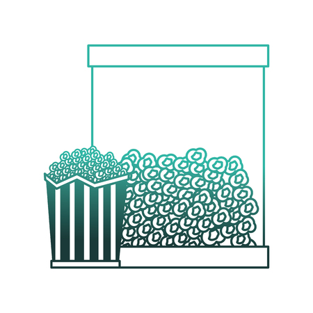 pop corn with dispenser machine vector illustration design