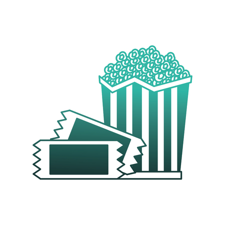 pop corn with tickets vector illustration design