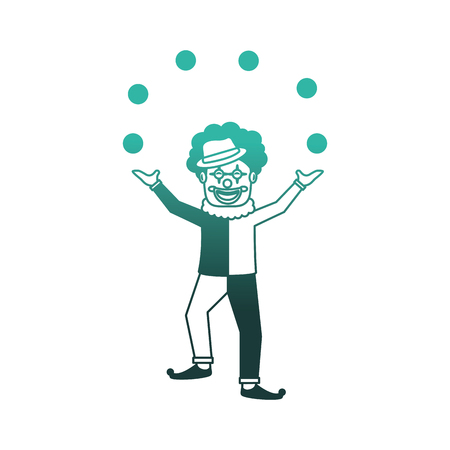 circus clown doing juggling with balls vector illustration design Stock Illustratie