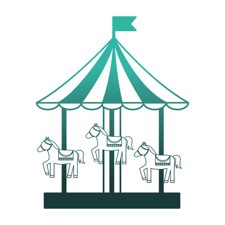 carousel carnival with horses vector illustration design