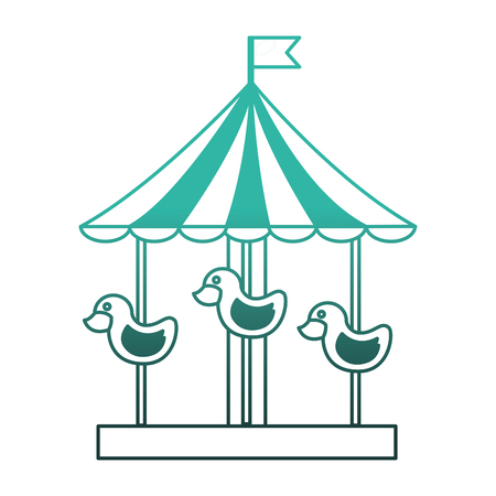carousel carnival with ducks vector illustration design
