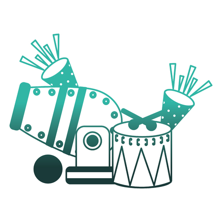 circus cannon with cornets and drum vector illustration design Illustration