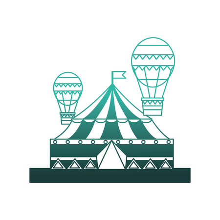 circus tent with balloons air hot flying vector illustration design Illustration