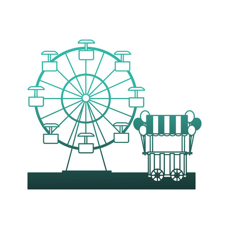 circus pumps air shop with panoramic wheel vector illustration design