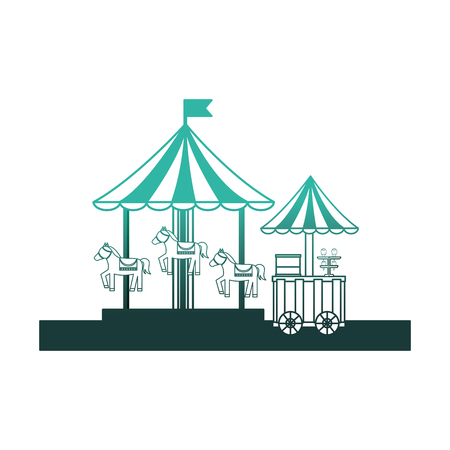 carousel carnival with ice cream shop kiosk vector illustration design Illusztráció