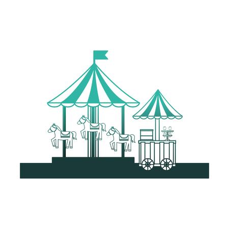 carousel carnival with ice cream shop kiosk vector illustration design Illustration