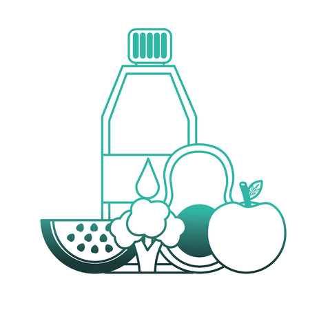 pure water bottle with fruits and vegetables vector illustration design Illustration