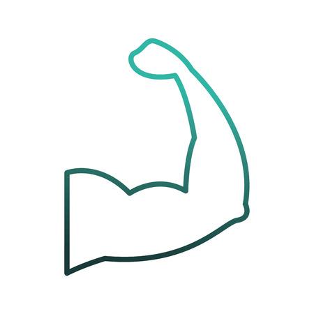 腕強い筋肉のシルエットアイコンベクトルイラストデザイン