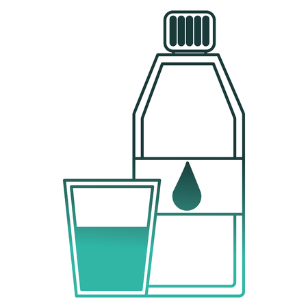 pure water bottle with glass vector illustration design
