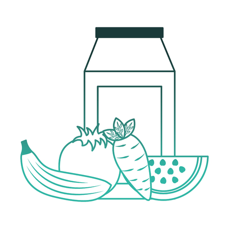 milk box with fruits and vegetables vector illustration design