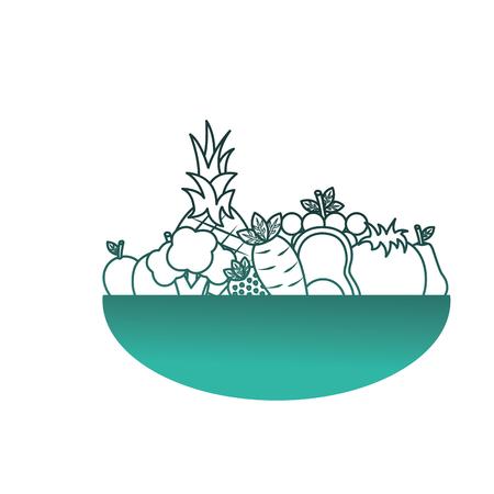 fruits and vegetables in bowl vector illustration design Illustration