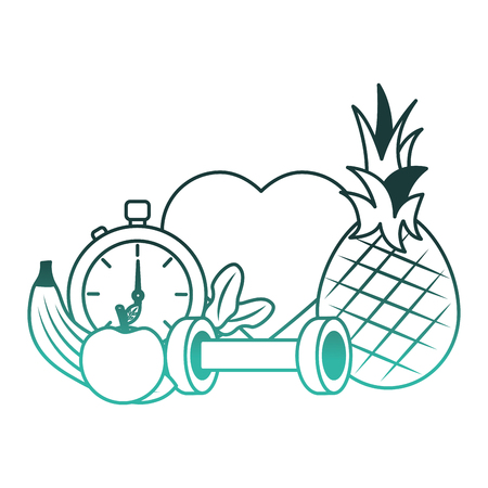 heart cardio with lifestyle icons vector illustration design