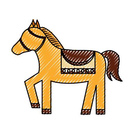 schattig paard dier pictogram vector illustratie ontwerp Stock Illustratie