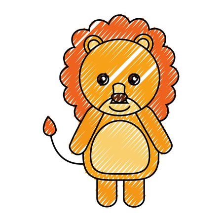 Diseño lindo del ejemplo del vector del icono del animal del león