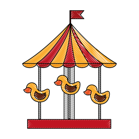 carousel carnival with ducks vector illustration design Stock fotó - 98575383