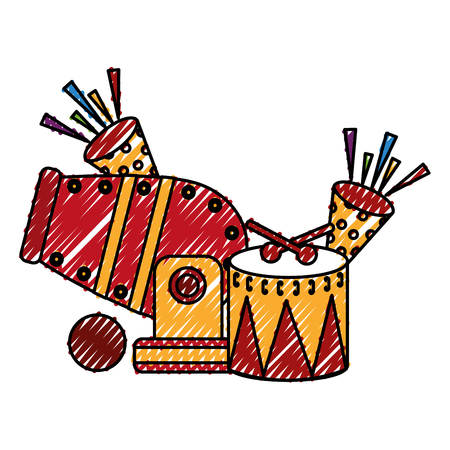 circus cannon with cornets and drum vector illustration design 向量圖像