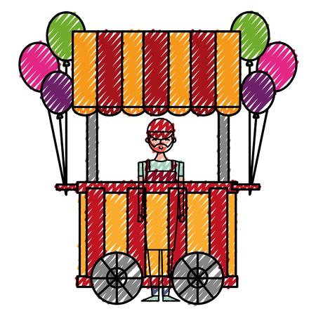 circus pumps air shop with salesman vector illustration design