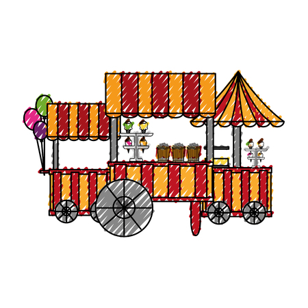 circus kiosk shops set vector illustration design Stock Illustratie