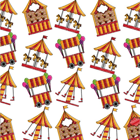 carousel carnival with kiosks pattern background vector illustration design