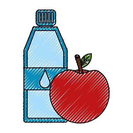 pure water bottle with apple vector illustration design Ilustração