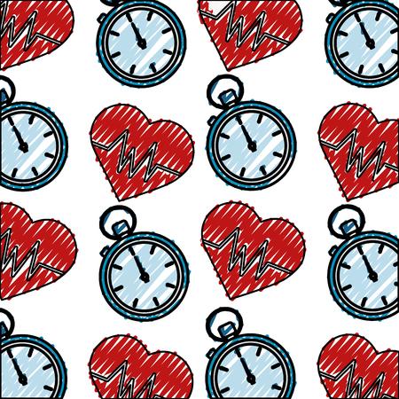 heart cardio with chronometer pattern vector illustration design