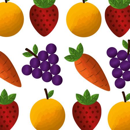 vegetable and fruit healthy lifestyle pattern background vector illustration design Çizim