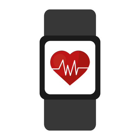 smart watch wearable technology heart cardiology vector illustration design Illustration