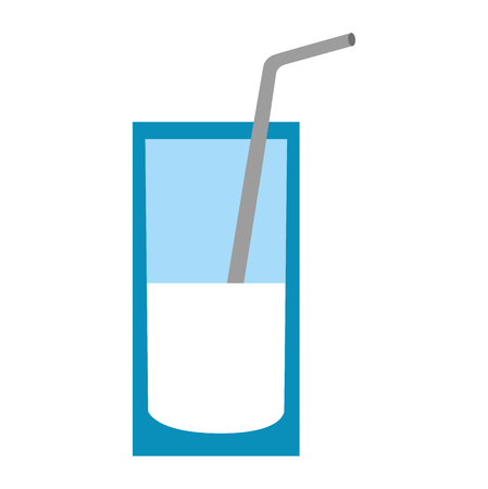 milk glass with straw vector illustration thin line