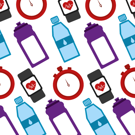 healthy lifestyle icons with sportwatch pattern vector illustration design Illustration