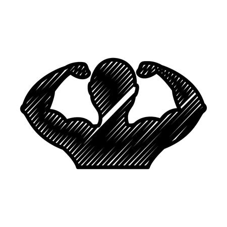 強い男の筋肉シルエットベクトルイラストデザイン
