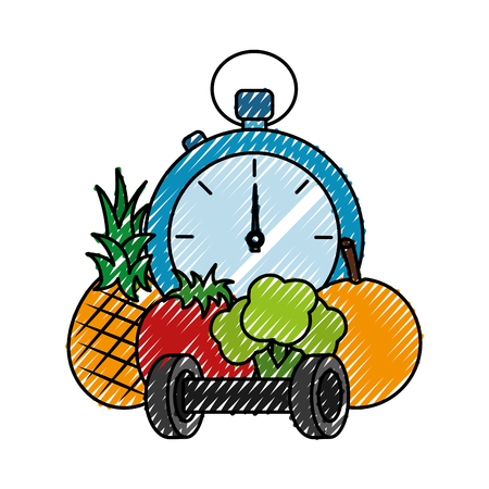 chronometer timer with fruits and weight lifting vector illustration design 向量圖像