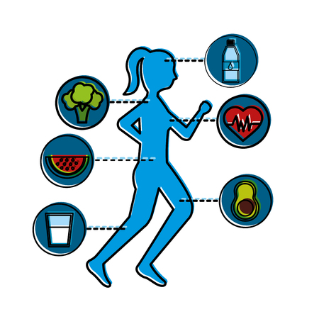 woman running with healthy lifestyle icons vector illustration thin line Ilustração
