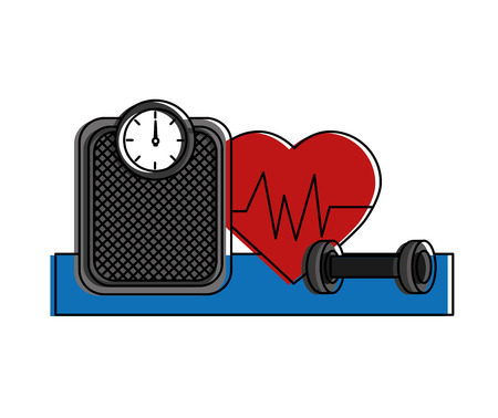healthy lifestyle icons with cardio heart vector illustration design Çizim