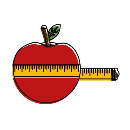 measure tape with apple fruit vector illustration design