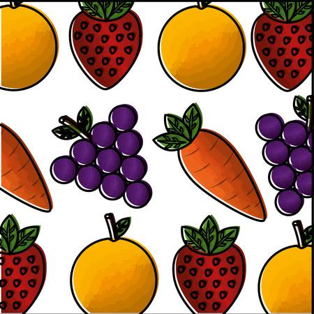 vegetable and fruit healthy lifestyle pattern background vector illustration design Foto de archivo - 98574870