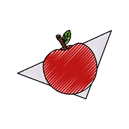 fresh apple fruit in napkin vector illustration design
