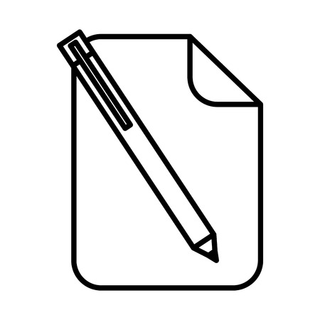 paper document pen icon vector illustration design