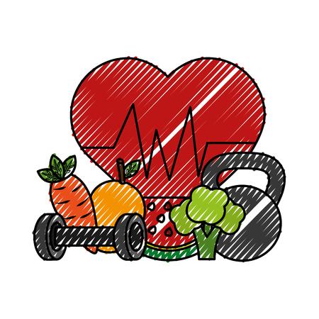 heart cardio with fruits vector illustration design Illustration
