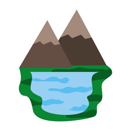 山と湖の自然シーンベクトルイラストデザイン