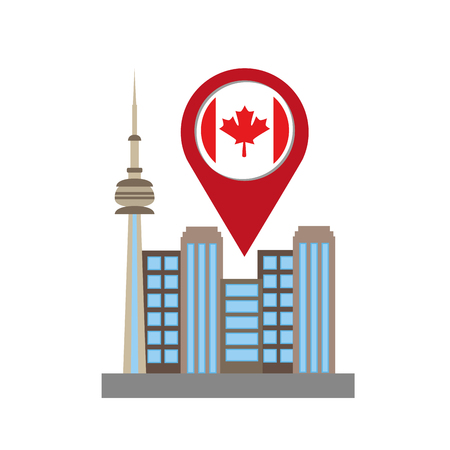 toronto cityscape with pointer location vector illustration design Banco de Imagens - 98574984