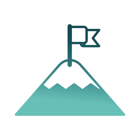 mountain with flag on top vector illustration design Çizim